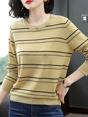 Round Neck Elegant Striped Long Sleeve Knit Pullover фото
