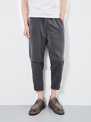 Plain Slim-Leg Cropped Men's Casual Pants фото