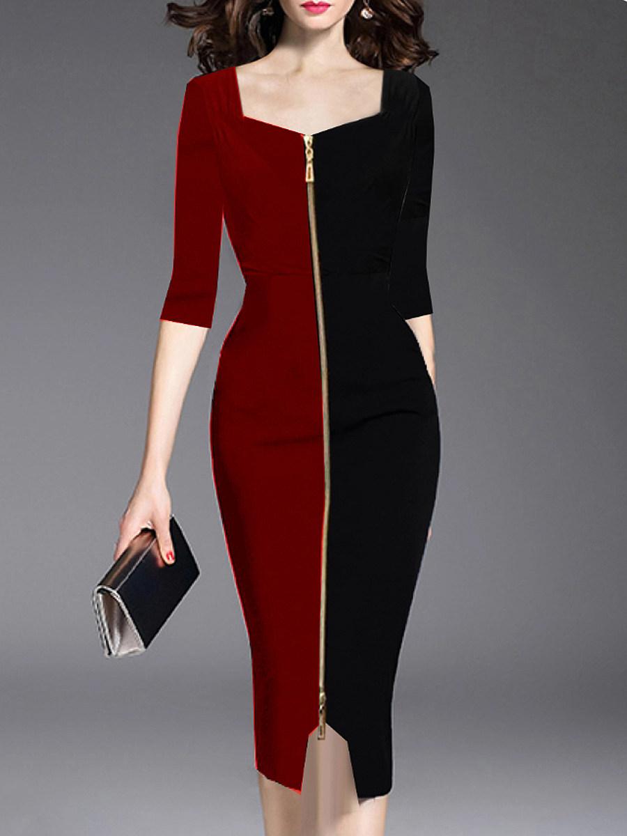 BerryLook Asymmetric Neck  Zips  Color Block Bodycon Dress