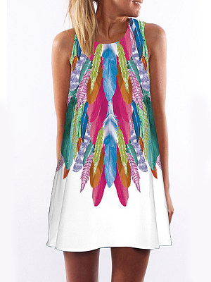 Round Neck Print Shift Dress, 6399999