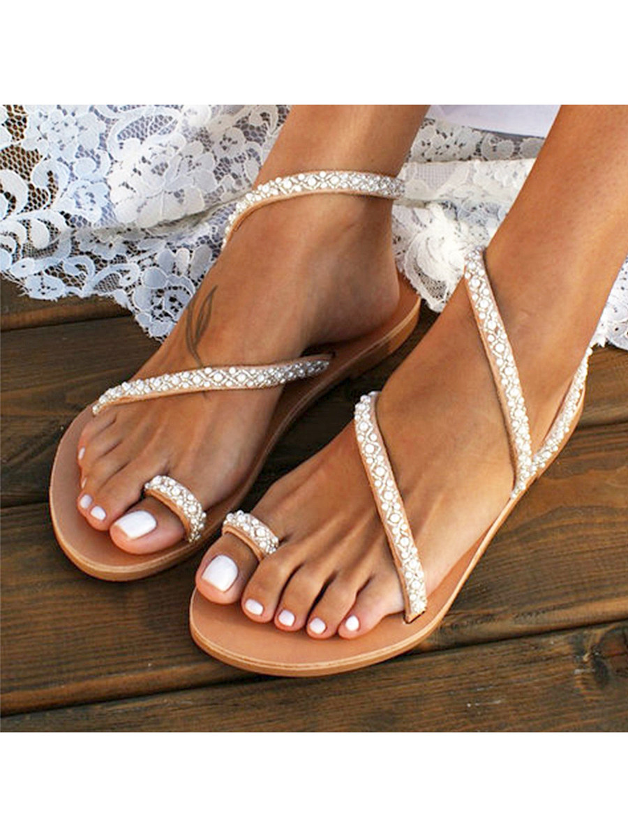 BerryLook Bohemian Flat Peep Toe Casual Date Flat Sandals