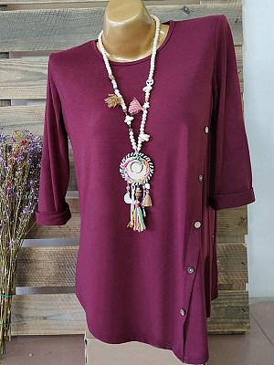 Autumn Spring Polyester Women Round Neck Asymmetric Hem Decorative Button Plain Long Sleeve T-Shirts