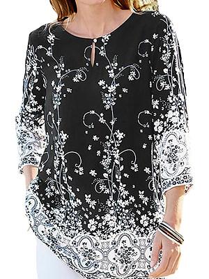 Round Neck Patchwork Elegant Printed Three-Quarter Sleeve Blouses фото