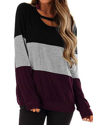Round Neck Patchwork Casual Color Block Long Sleeve T-Shirt фото