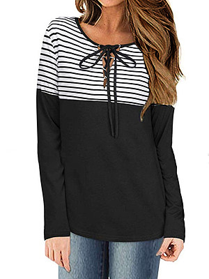 V Neck Patchwork Casual Striped Long Sleeve T-Shirts, 8073984