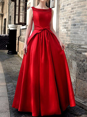 Berrylook Round Neck Bowknot Plain Evening Dress cheap online stores, clothes shopping near me, Flared Evening Dresses, homecoming dresses, long sleeve maxi dress