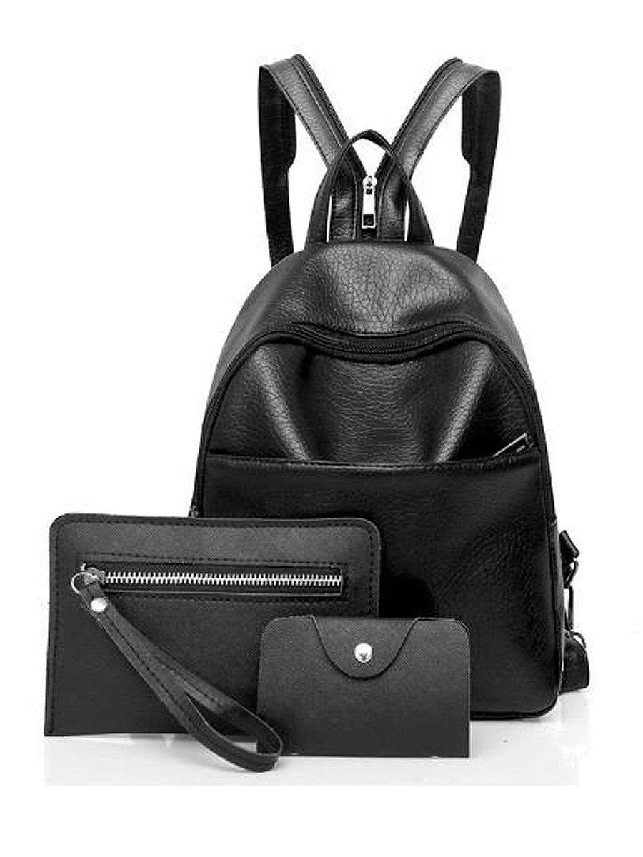 BerryLook Fashion Three Pieces Overall Plain PU Backpack