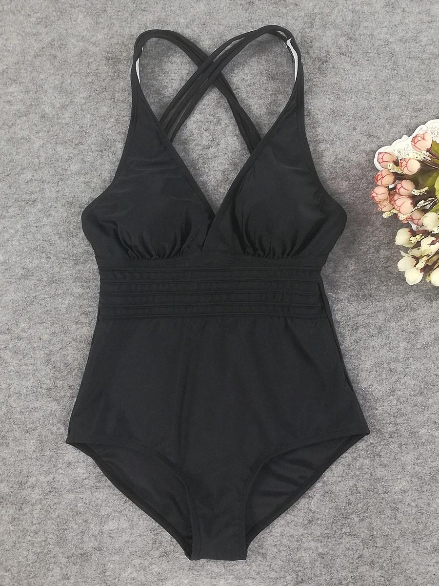 BerryLook V Neck  Plain One Piece Swimwear