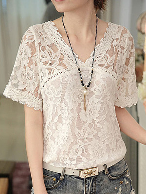 V Neck  Patchwork  Lace Blouses