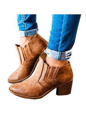 Plain  Chunky  High Heeled  Point Toe  Outdoor Boots