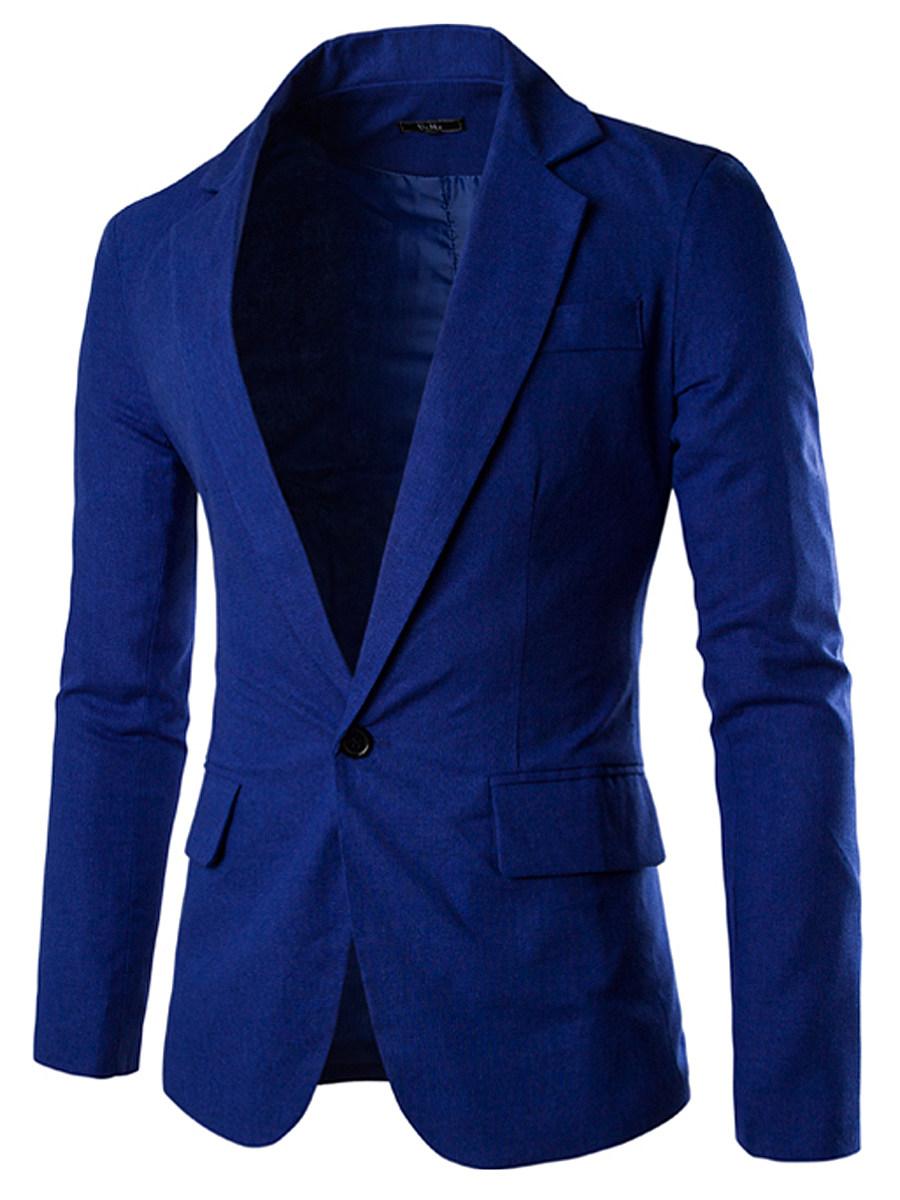 Men Notch Lapel Single Button Plain Linen Blazer