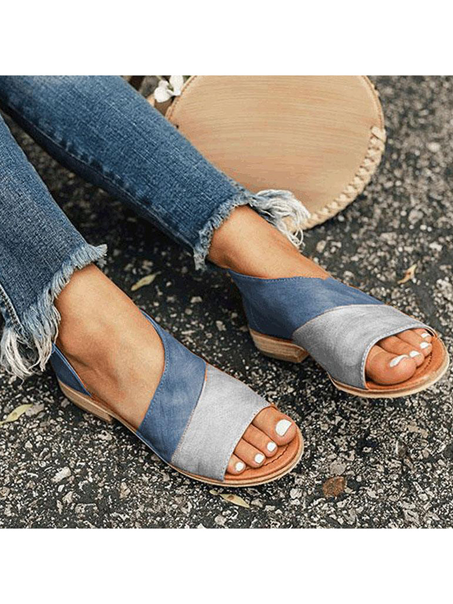 BerryLook Flat Peep Toe Casual Flat Sandals