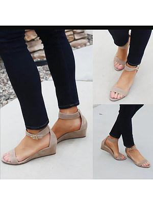 Plain  Mid Heeled  Velvet  Ankle Strap  Peep Toe  Casual Wedge Sandals