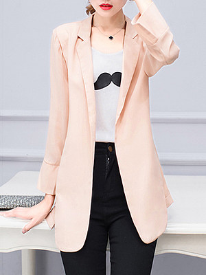 Notch Lapel Side Slit Plain Blazer