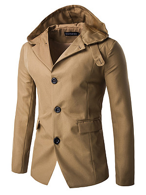 Hooded Flap Pocket Single Breasted Vented Plain Men Coat фото