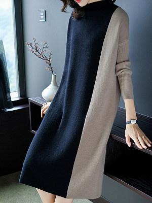 Round Neck Color Block Shift Dress, 4877847