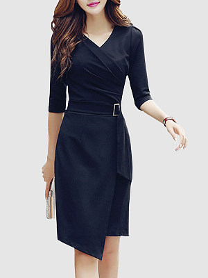 V Neck  Asymmetric Hem  Decorative Hardware  Plain Bodycon Dresses