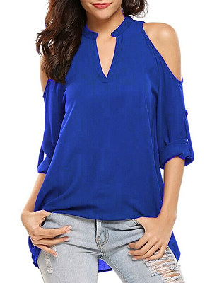Polyester Open Shoulder Plain Blouse, 6924301