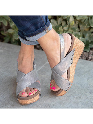 Peep Toe Casual Wedge Sandals