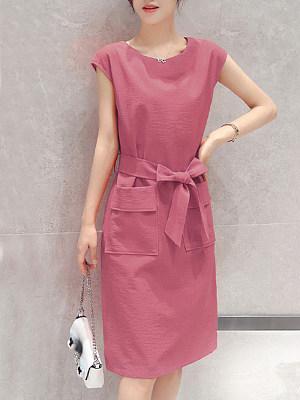 Round Neck Belt Draped Pocket Plain Shift Dress