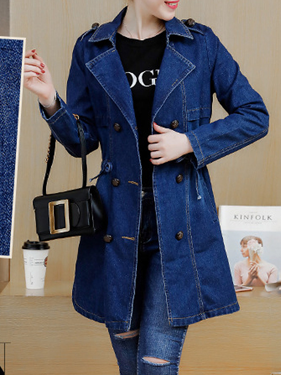 BerryLook Fold-Over Collar  Single Breasted  Decorative Hardware  Plain  Long Sleeve Trench Coats