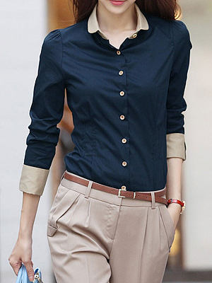 Summer Polyester Women Turn Down Collar Single Breasted Plain Long Sleeve Blouses