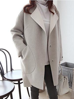 Lapel Patch Pocket Plain Woolen Coat