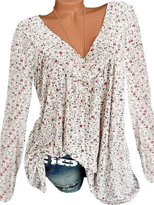 V Neck Patchwork Floral Printed Long Sleeve T-Shirts фото