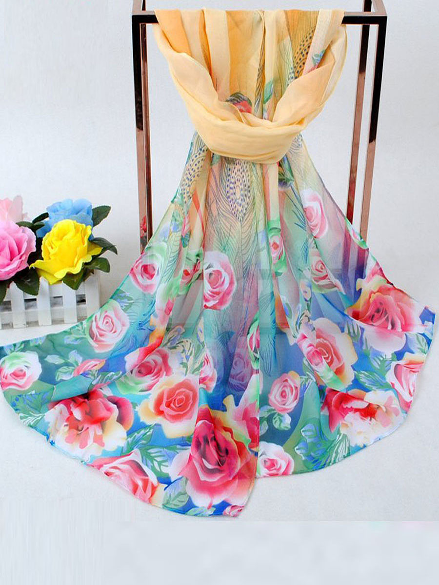 The New Peacock Floral Printed Chiffon Scarf