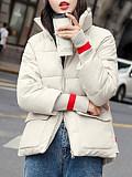 Band Collar  Colouring Plain Outerwear