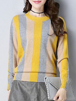 Round  Neck  Patchwork  Elegant  Striped  Long Sleeve Knit Pullover