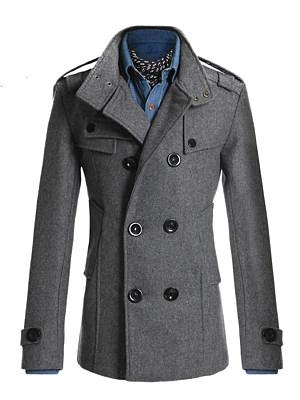 Men Lapel Plain Double Breasted Pocket Woolen Coat, 3911720