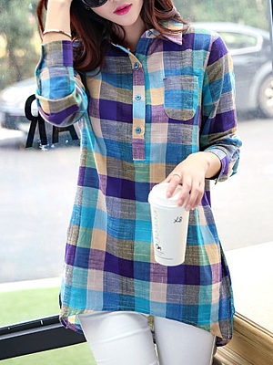Button Down Collar Asymmetric Hem Single Breasted Checkered Blouses