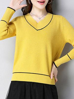 V Neck Patchwork Elegant Striped Long Sleeve Knit Pullover, 8510821