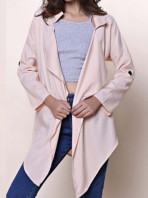 Fold-Over Collar Plain Long Sleeve Cardigans