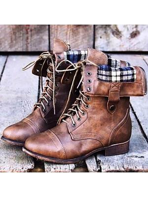 Plain Chunky Low Heeled Criss Cross Round Toe Casual Flat Boots фото