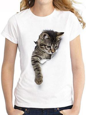 Round Neck Loose Fitting Animal Prints Short Sleeve T-Shirts фото