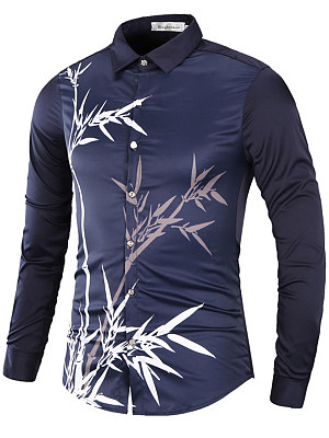 Bamboo Printed Long Sleeve Men Shirts