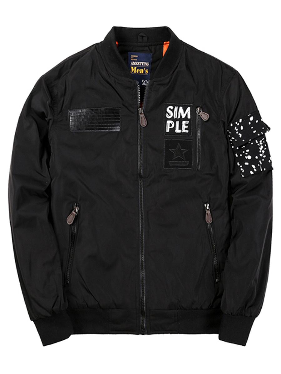BerryLook Band Collar Zips Pocket Men Bomber Jacket
