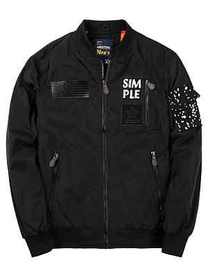 Band Collar Zips Pocket Men Bomber Jacket