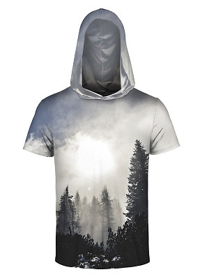 Hooded Men Tree Printed Short Sleeve T-Shirt