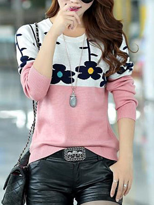 Round Neck  Color Block Floral Pullover