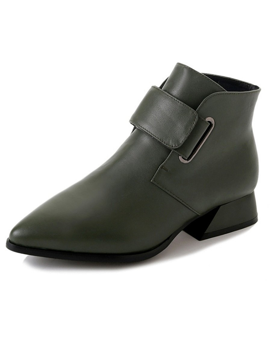 Plain  Chunky  Low Heeled  Faux Leather  Point Toe  Basic Boots