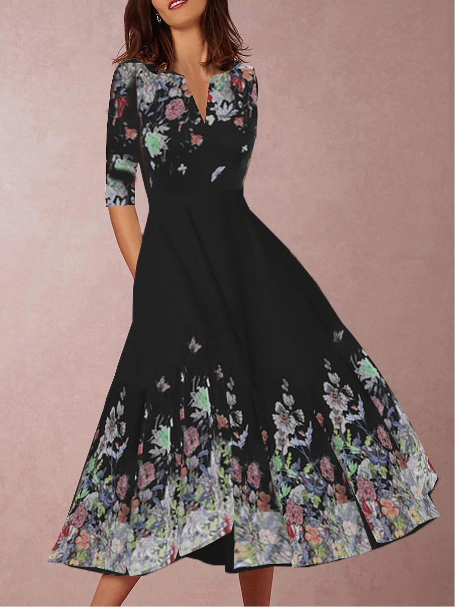 BerryLook V Neck  Floral Printed Skater Dress