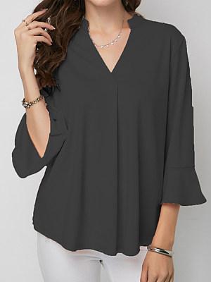 V Neck Loose Fitting Plain Petal Sleeve Blouses, 5879772