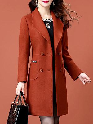 Fold-Over Collar Plain Coat фото