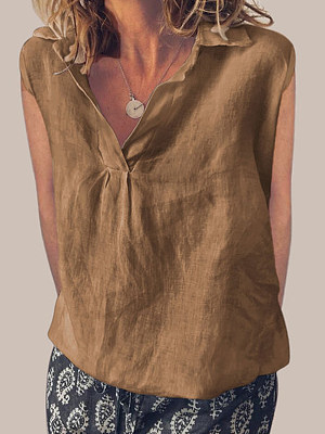 Turn Down Collar Loose Fitting Plain Linen Blouses, 7022450