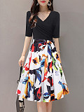 Image of V Neck Print Skater Dress