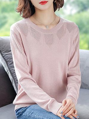 Round Neck Patchwork Elegant Plain Long Sleeve Knit Pullover, 8477018