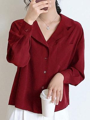 Lapel Patchwork Brief Plain Long Sleeve Blouse, 9300897